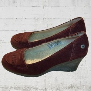 UGG Maroon Suede Wedges GUC Size 7